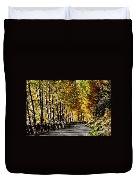 Winding Road Through The Autumn Trees Duvet Cover