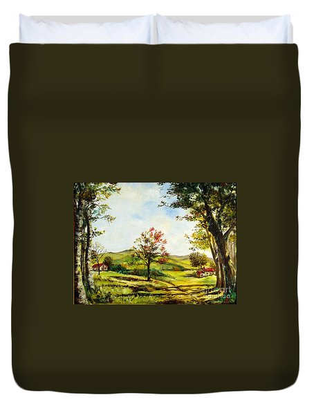Duvet Cover featuring the painting Autumn Road by Lee Piper