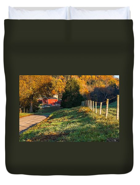Autumn Road Morning Duvet Cover by Bill Wakeley