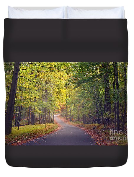 Duvet Cover featuring the photograph Autumn Road by Rima Biswas