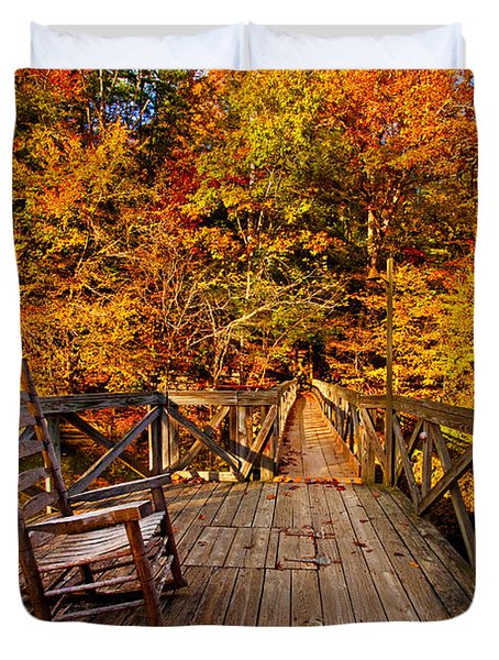 Autumn Rocking On Wooden Bridge Landscape Print Duvet Cover by Jerry Cowart
