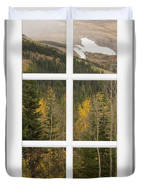 Autumn Rocky Mountain Glacier View Through A White Window Frame  Duvet Cover by James BO  Insogna