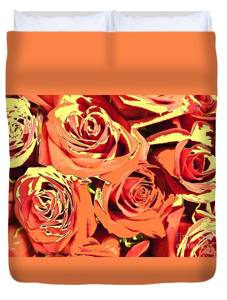 Duvet Cover featuring the photograph Autumn Roses On Your Wall by Joseph Baril
