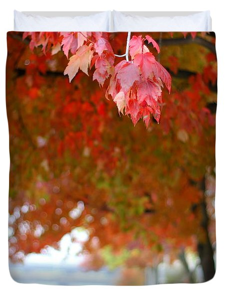 Autumn Sidewalk Duvet Cover