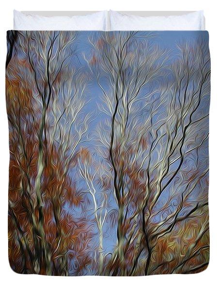 Duvet Cover featuring the digital art Autumn Sky by Kelvin Booker