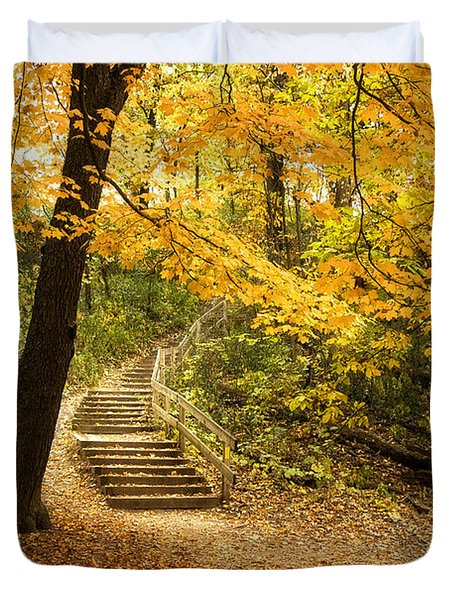 Autumn Stairs Duvet Cover by Scott Norris