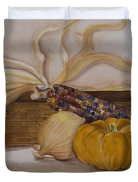 Autumn Still Life Duvet Cover by Rebecca Matthews