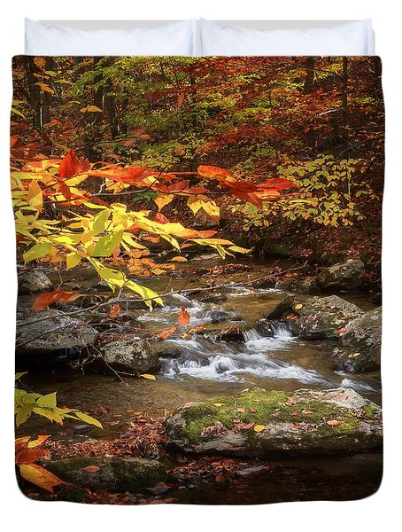 Autumn Stream Square Duvet Cover by Bill Wakeley