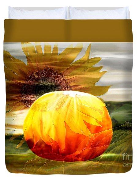 Autumn Sunflower And Pumpkin Duvet Cover by Annie Zeno