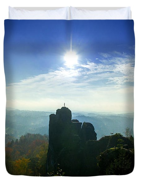 Autumn Sunrise In The Elbe Sandstone Mountains Duvet Cover