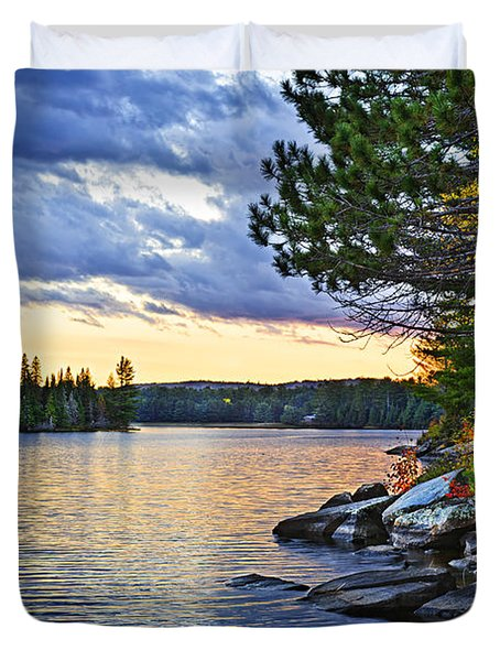 Autumn Sunset At Lake Duvet Cover