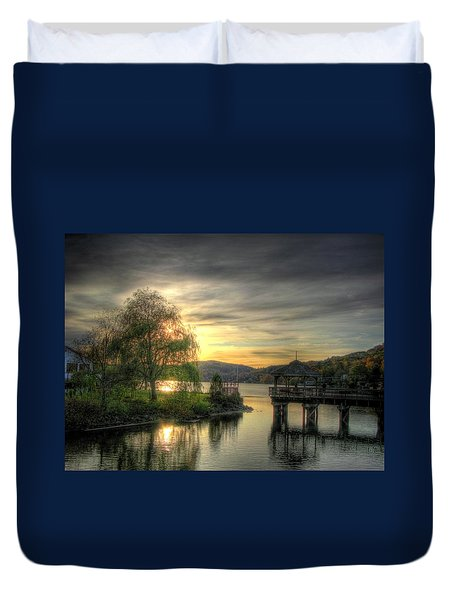 Autumn Sunset Duvet Cover by Nicola Nobile