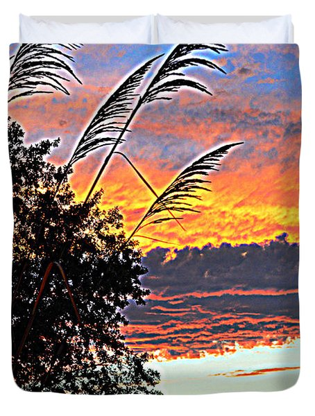 Autumn Sunset Duvet Cover by Luther Fine Art