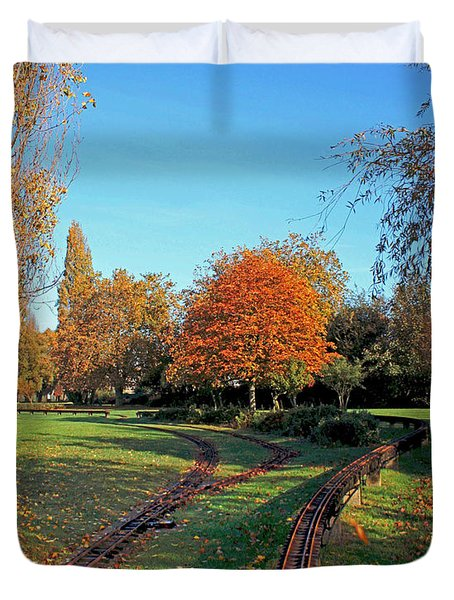 Autumn Tracks Duvet Cover by Terri Waters