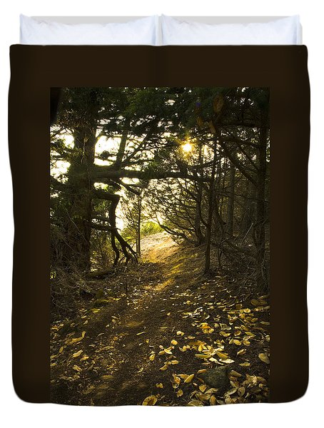 Autumn Trail In Woods Duvet Cover