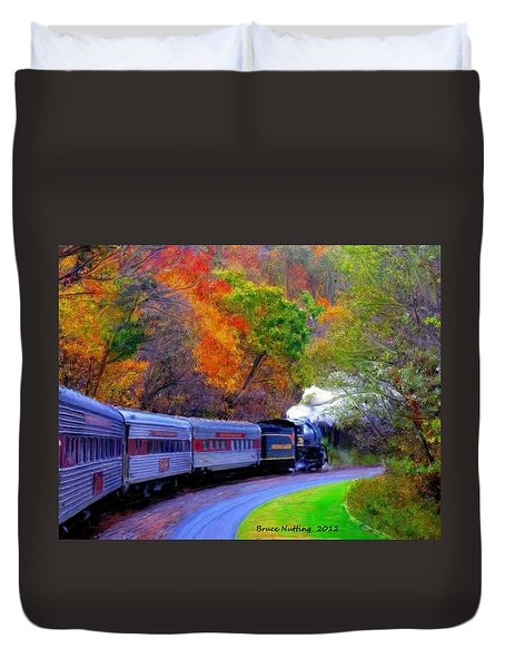 Duvet Cover featuring the painting Autumn Train by Bruce Nutting