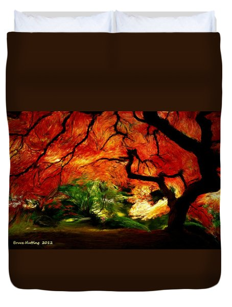 Duvet Cover featuring the painting Autumn Tree by Bruce Nutting