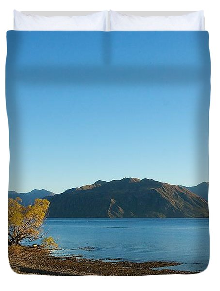 Duvet Cover featuring the photograph Autumn Trees At Lake Wanaka by Stuart Litoff