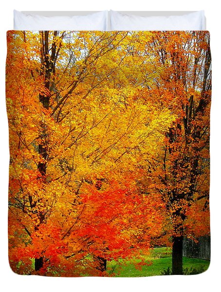 Duvet Cover featuring the photograph Autumn Trees By Barn by Rodney Lee Williams