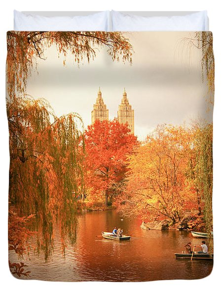 Autumn Trees - Central Park - New York City Duvet Cover by Vivienne Gucwa