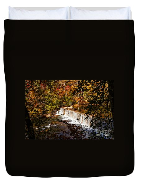 Autumn Trees On Duck River Duvet Cover by Jerry Cowart