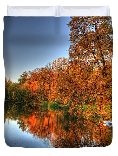 Autumn Trees Over A Pond In Arkadia Park In Poland Duvet Cover