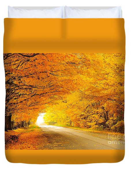 Autumn Tunnel Of Gold 8 Duvet Cover by Terri Gostola
