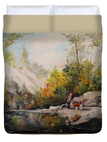 Duvet Cover featuring the painting Autumn Walk by Alan Lakin