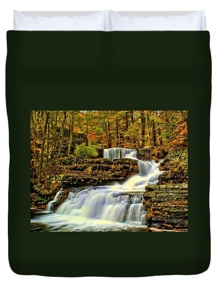 Autumn By The Waterfall Duvet Cover by Nick Zelinsky