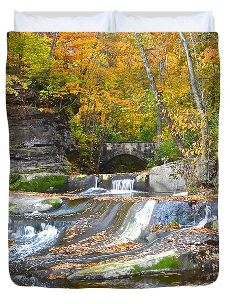 Autumn Waterfall Duvet Cover by Frozen in Time Fine Art Photography