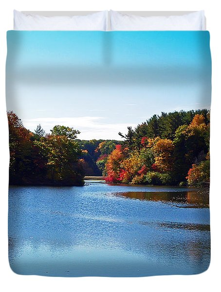 Autumn Waterway Duvet Cover by Aimee L Maher Photography and Art Visit ALMGallerydotcom