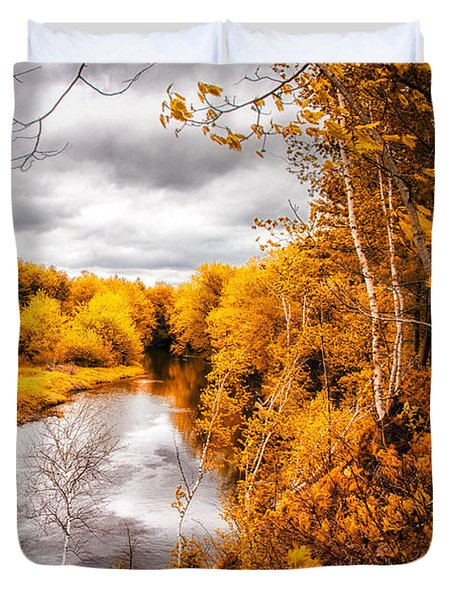 Autumn White Mountains Maine Duvet Cover by Bob Orsillo