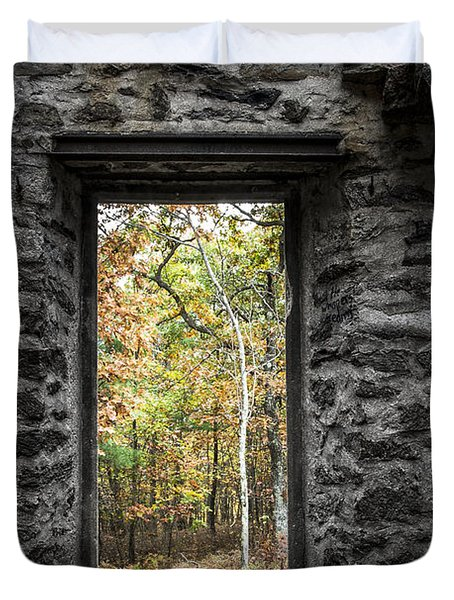 Autumn Within Cunningham Tower - Historical Ruins Duvet Cover by Gary Heller