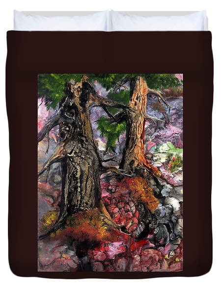 Duvet Cover featuring the painting Autumn Woods by Sherry Shipley
