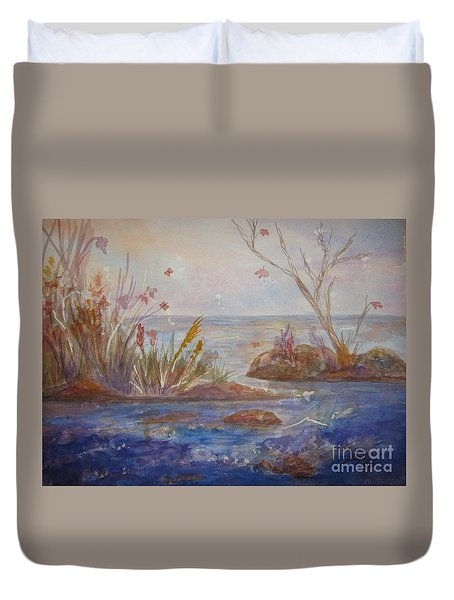 Duvet Cover featuring the painting Autumnal Fantasy by Ellen Levinson