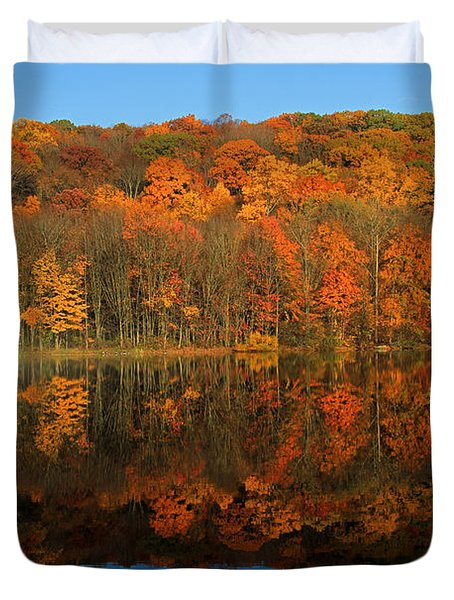 Autumns Colorful Reflection Duvet Cover by Karol Livote