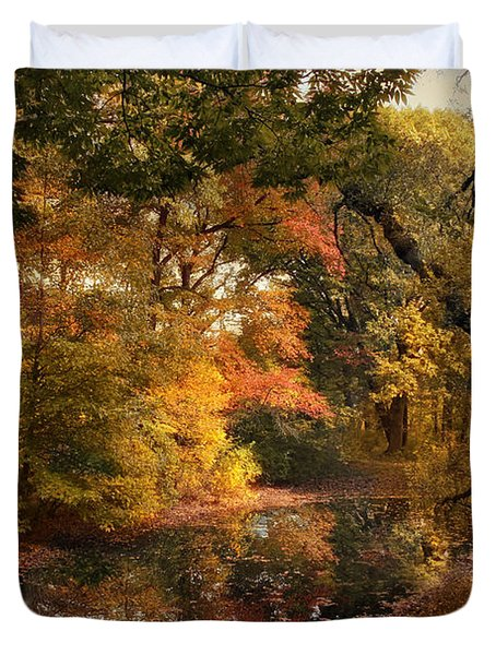 Duvet Cover featuring the photograph Autumn's Edge by Jessica Jenney
