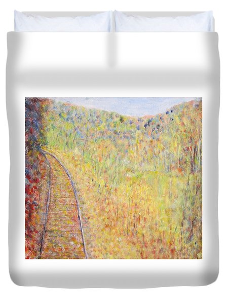 Autumns Maple Leaves And Train Tracks Duvet Cover