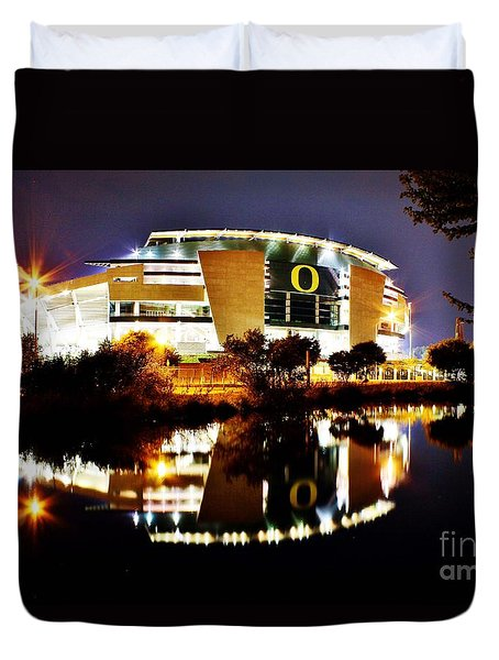 Autzen At Night Duvet Cover