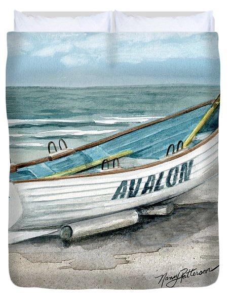 Avalon Lifeguard Boat  Duvet Cover