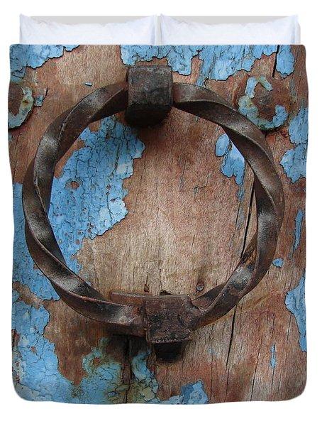 Avignon Door Knocker On Blue Duvet Cover by Ramona Johnston