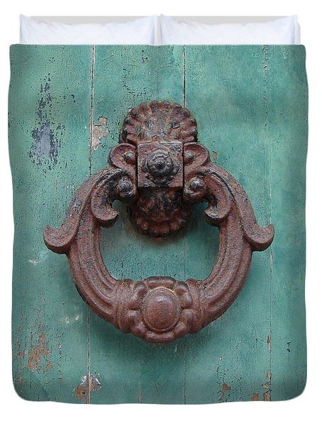 Avignon Door Knocker On Green Duvet Cover by Ramona Johnston
