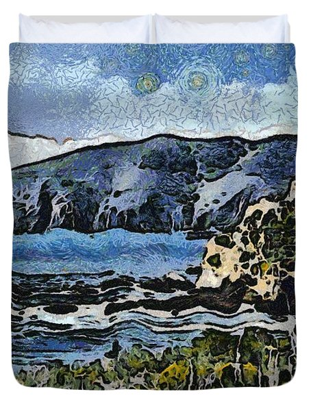 Avila Bay California Abstract Seascape Duvet Cover by Barbara Snyder