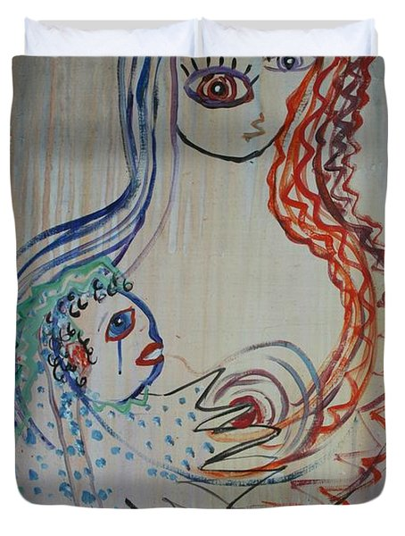 Duvet Cover featuring the painting Avi's Madonna by Avonelle Kelsey