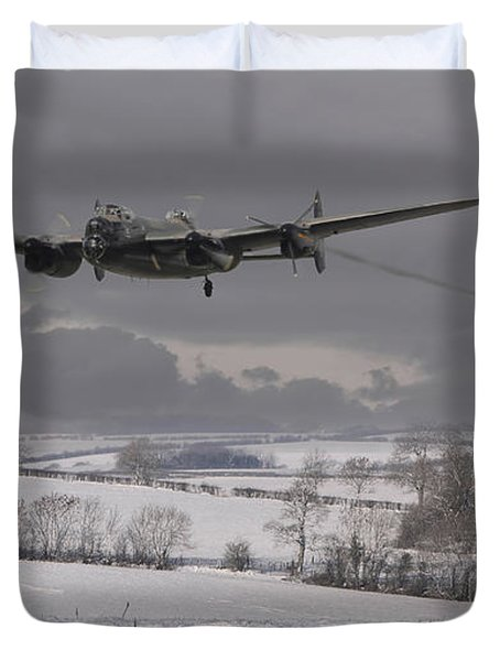 Avro Lancaster - Limping Home Duvet Cover by Pat Speirs