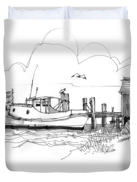 Awaiting Bluefish Run Ocracoke Nc 1970s Duvet Cover