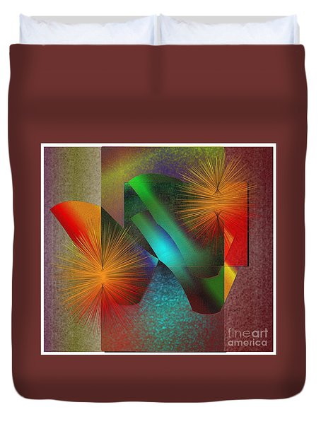 Duvet Cover featuring the digital art Awake by Iris Gelbart