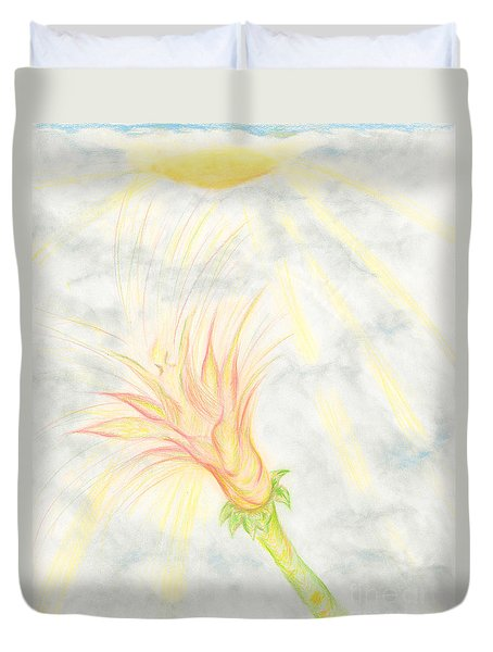 Duvet Cover featuring the drawing Awakening by Kim Sy Ok