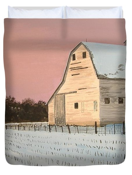 Award-winning Original Acrylic Painting - Nebraska Barn Duvet Cover by Norm Starks