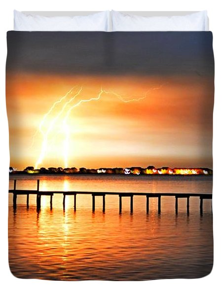 Awesome Lightning Electrical Storm On Sound Duvet Cover by Jeff at JSJ Photography